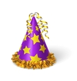 Birthday violet hat with yellow stars vector image