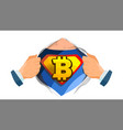 bitcoin sign superhero open shirt with vector image vector image
