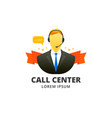 call center avatar emblem vector image