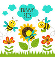 card with funny bees vector image