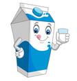 cartoon milk box holding a glass milk vector image