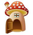 cartoon mushroom house with open door vector image