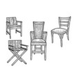 chair set sketch engraving vector image vector image