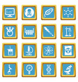 chemistry laboratory icons set sapphirine square vector image vector image