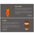 coffee and soft drink set vector image vector image
