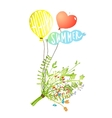 Colored Balloons and Bouquet Happy Summer Sign vector image vector image