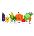 cute cartoon vegetables isolated on white vector image