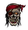 Danger pirate skull in red bandane