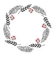 doodle berry and leaf circle frame on a white vector image vector image