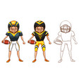 doodle character for american football player vector image vector image