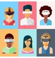 Flat head-mounted displays icon set vector image