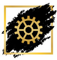 gear sign golden icon at black spot vector image vector image