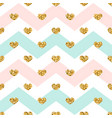 gold heart seamless pattern pink-blue-white vector image vector image
