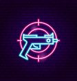 gun gaming neon sign vector image