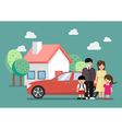 Happy family standing against car and house vector image vector image