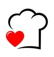 icon with chef hat and heart vector image