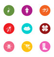 insect garden icons set flat style vector image vector image