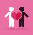 interracial couple love heart vector image