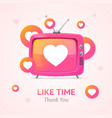 like time concept with pink retro tv vector image vector image