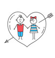 lovers holding hands with heart pierced by arrow vector image vector image