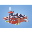 Low poly fire station vector image vector image