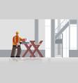 male builder carpenter using handsaw sawing log on vector image