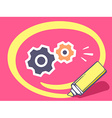 marker drawing circle around gears on pin vector image vector image