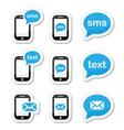 Mobile sms text message mail icons set as labels vector image vector image