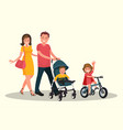 mom and dad with children vector image