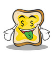 Money mouth face bread character cartoon