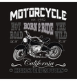 Motorcycle Racing Typography California Motors vector image vector image