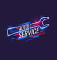 neon style auto service poster vector image