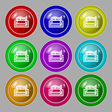 Newspaper icon sign symbol on nine round colourful vector image vector image