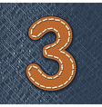 Number 3 made from leather on jeans background vector image vector image