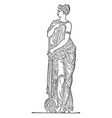nymph sculpture is in greek mythology vintage vector image vector image