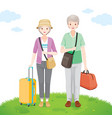 old traveller standing with bag for travel vector image vector image