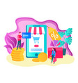online shopping concept mobile application for vector image vector image
