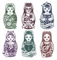 russian dolls monochrome set vector image