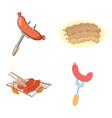 Sausage icon set cartoon style