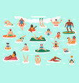 sea swim characters people ocean swimming diving vector image