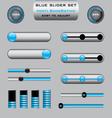 set blue slider bar controls vector image