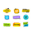 set icons click here or promo banner promotion vector image vector image