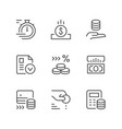 set line icons of credit vector image