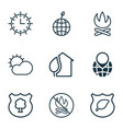 set of 9 ecology icons includes guard tree sun vector image vector image