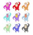Set of colored monkeys Funny gorilla Cute primacy vector image vector image
