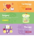 Set of flat design concepts for cardiology surgery vector image