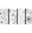 simple hand drawn flower collection 4 flower vector image vector image