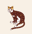 sitting cat meow power cute pet hand drawn vector image