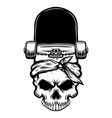 skateboard with human skull design element for vector image