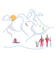 skiers family on winter mountain landscape vector image vector image